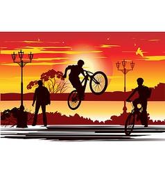 Jump rider at sunset vector