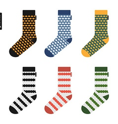Set of socks with original hipster design vector