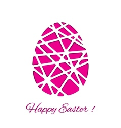 Happy easter decorated paper egg design vector