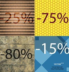 75 80 15 icon set of percent discount on abstract vector