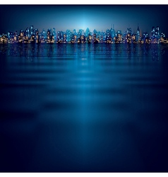 Abstract night background with silhouette of city vector