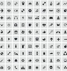 100 fitness icons vector