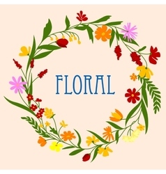 Floral wreath with flowers and herbal foliage vector