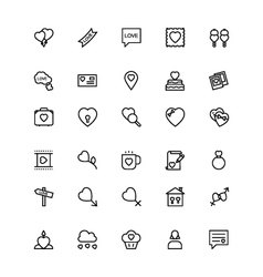 Love and romance line icons 4 vector
