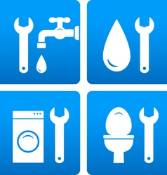 Set with wrench water drop washing machine vector