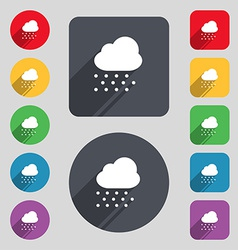 Snowing icon sign a set of 12 colored buttons and vector