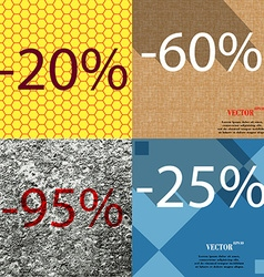 60 95 25 icon set of percent discount on abstract vector