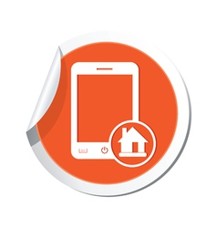 Phone home icon orange sticker vector