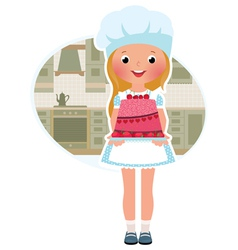 Girl cook with cake vector