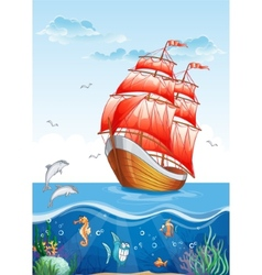 Childrens of a sailboat with red sails and the vector