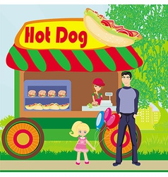 Hot dog booth stand in the city vector