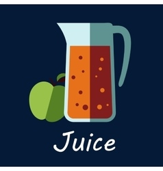 Jug of apple juice and fruit icon vector