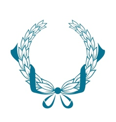 Blue color foliate circular wreath vector