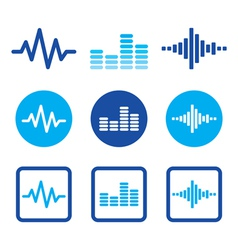 Sound wave music blue icons set vector