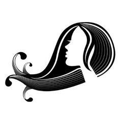 Female silhouette in profile and hair vector