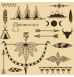 Set of american indians objects vector