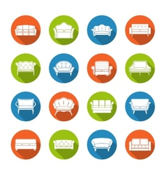 Sofa icons flat vector