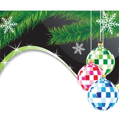 Christmas spheres and fur tree branch vector