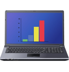 Graph on laptop screen vector