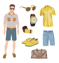 Hipster character pack for geek boy with accessory vector
