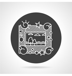 Photo frame black round icon vector