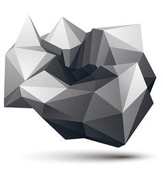 Complicated abstract grayscale 3d shape digital vector