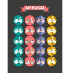 Modern icons bicycle flat vector