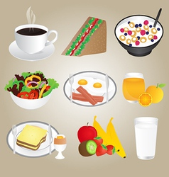 Healthy foods and breakfast set vector