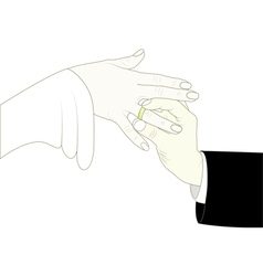 Groom putting ring on brides finger vector