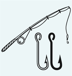 Fishing rod and fishing hook vector