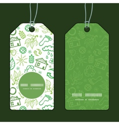Ecology symbols vertical round frame pattern tags vector