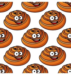 Seamless pattern of happy smiling danish pastries vector