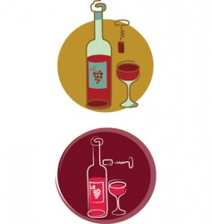 Red wine bottle and glass vector