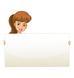 A teenage girl holding an empty board vector