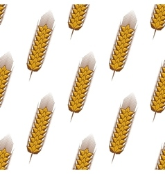 Golden spikelets of wheat seamless pattern vector