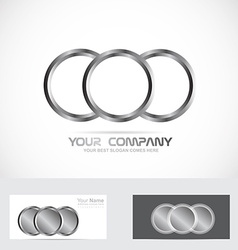 Silver metal rings circle logo vector