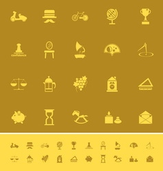 Vintage item color icons on brown background vector