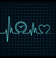 Heartbeat with a clock symbol in line vector