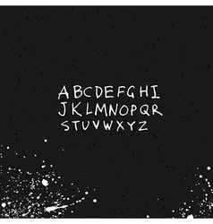 Alphabet hand-drawn with ink splash and paper text vector