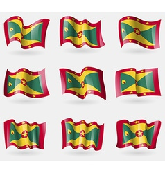 Set of grenada flags in the air vector