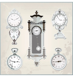 Set of many vintage retro clocks vector