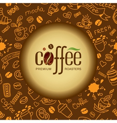 Coffee and tea background for packing vector