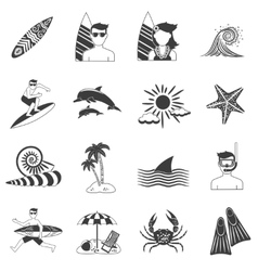 Surfing icons black vector