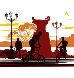 Two cyclists vector