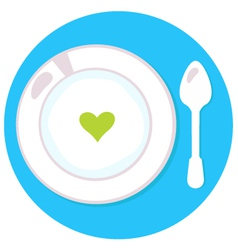 Healthy soup with heart isolated on blue circle vector