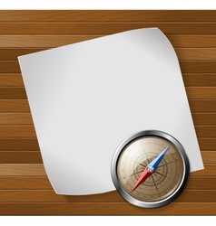Steel detailed compass and white paper sheet over vector