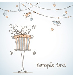 Greeting card with cute birds vector