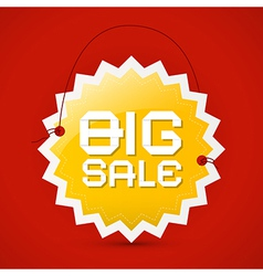 Big sale icon - orange label on red background vector