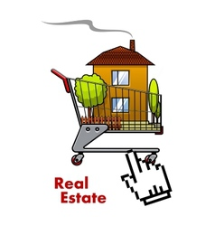 Cart with house for real estate industry vector