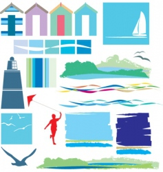 Beach and sea elements vector